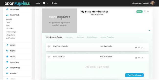 Create Membership Page