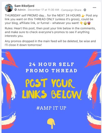 FB promotion thread