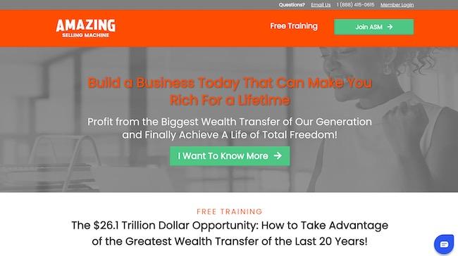 Amazing Selling Machine homepage