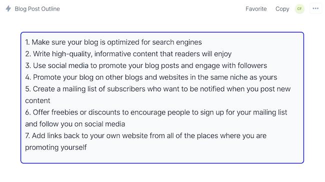 Thr blog post outline output