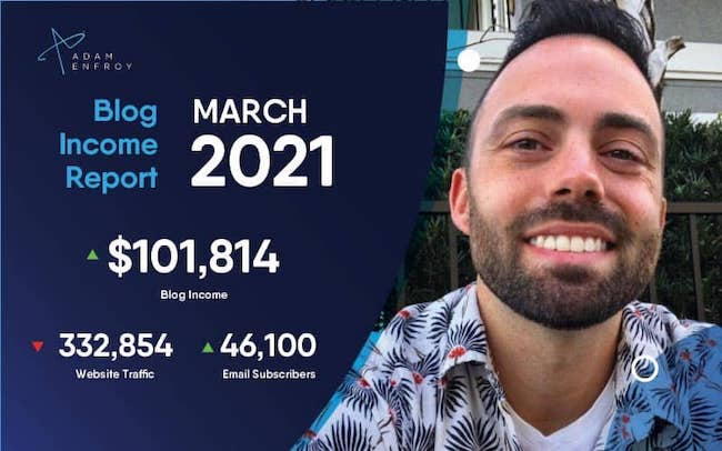 Adam Enfroy March Blog Income Report
