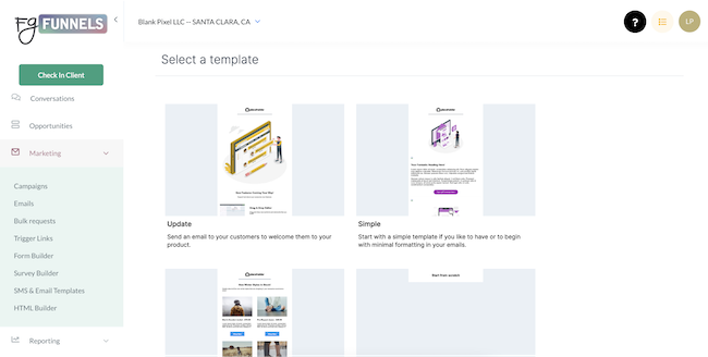 The FG Funnels email template